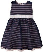 Andy & Evan Stripe Organza Party Dress (Toddler/Kid) - Navy-2T