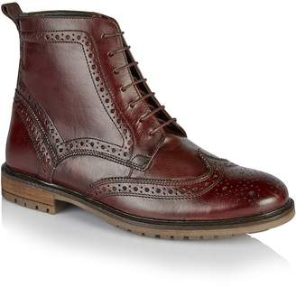 Tu SILVER STREET Burgundy Lace Up Brogue Boots