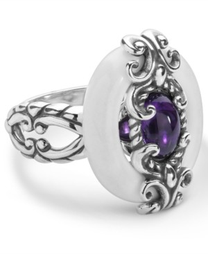 Carolyn Pollack Amethyst and White Agate Ring in Sterling Silver