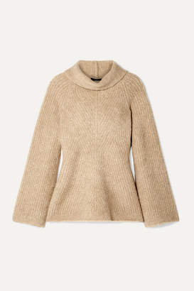 Theory Ribbed Merino Wool-blend Boucle Turtleneck Sweater - Sand