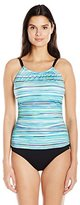Jantzen Women's Slim Mayan Reef High Neck Over the Shoulder One Piece Swimsuit