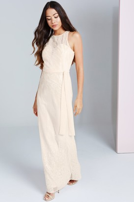 Little Mistress Beige Sequin Maxi Dress