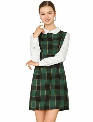 Allegra K Women's Contrast Peter Pan Collar Long Sleeve Shift Plaid Checked Dress Red 20