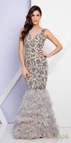 Terani Couture Applique Beaded Feather Mermaid Evening Dress