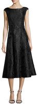 St. John Avani Rose Jacquard Cap-Sleeve Dress, Black
