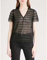 Sandro Geometric-lace sheer top