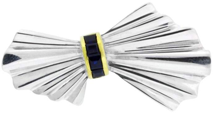 Tiffany & Co. 18K Yellow Gold & Sterling Silver Sapphire Bow Pin Brooch