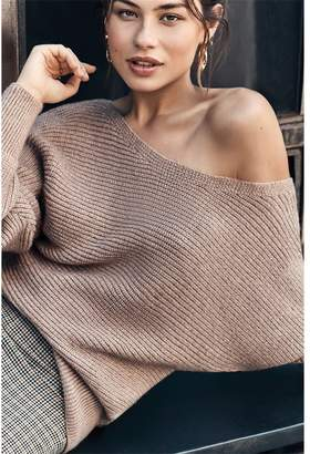 Dynamite Aubrie Off-The-Shoulder Sweater - FINAL SALE Roebuck Nude