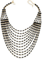 Thalia Sodi Gold-Tone Multi-Row Black Bead Bib Necklace, Only at Macy's