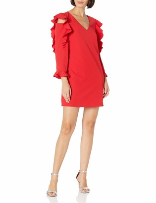 Nicole Miller Women's V-Neck Cold Shoulder Ruffle Sleeve Sheath Dress