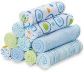 SpaSilk Baby 10-Pack Washcloth Set in Blue Circles