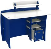 Kids' Desk with File Cart, Blue and White