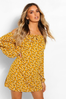boohoo Ditsy Floral Balloon Sleeve Smock Dress