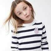 J.Crew Girls' striped popover sweater with peace sign emoji