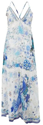 Camilla Beaded Crossover-back Floral-print Silk Maxi Dress - Blue White