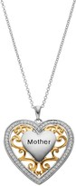 """Sentimental Expressions Two Tone Sterling Silver Cubic Zirconia """"Mother"""" Heart Necklace"""
