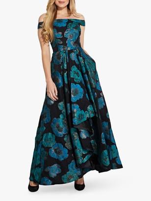Adrianna Papell Organza Floral Print Draped Gown, Aqua/Multi