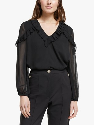 Somerset by Alice Temperley Ruffle Sleeve Top, Black