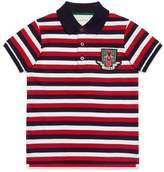 Gucci Children's striped cotton polo with crest