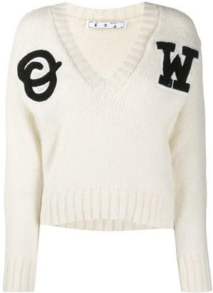 Off-White logo intarsia V-neck jumper