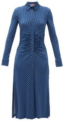 Altuzarra Polka-dot Ruched-waist Shirt Dress - Blue Multi
