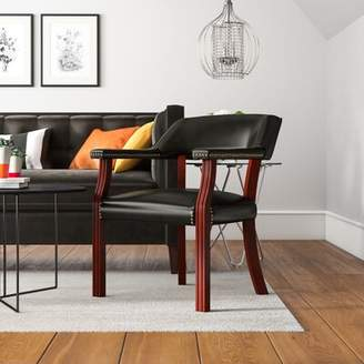 Charlton Home Evelyn Armchair Charlton Home Upholstery Color: Black, Casters: No
