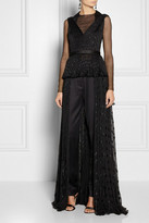 Jason Wu Pleated silk-blend chiffon and stretch-tulle top