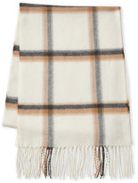 Fraas Windowpane Plaid Fringe Scarf