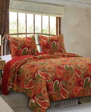 Greenland Home Fashions Tivoli Cinnamon Quilt Set, 3-Piece Full/Queen Bedding