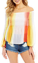 GB Smocked Ombre Off-The-Shoulder Long-Sleeve Tie-Detail Top