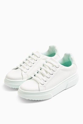 Topshop Womens Canada Mint Lace Up Trainers - Mint