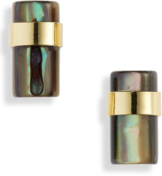 Halogen Abalone Cylinder Stud Earrings