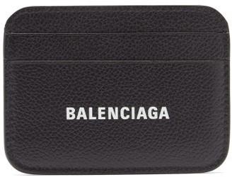 Balenciaga Logo-print Leather Card Holder - Black