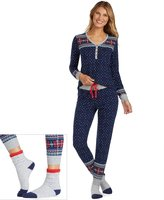 Cuddl Duds Women's Pajamas: Lucky Stripes Henley Top