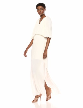 Halston Women's Flowy Pleated Sleeve V Neck Tie Back Gown