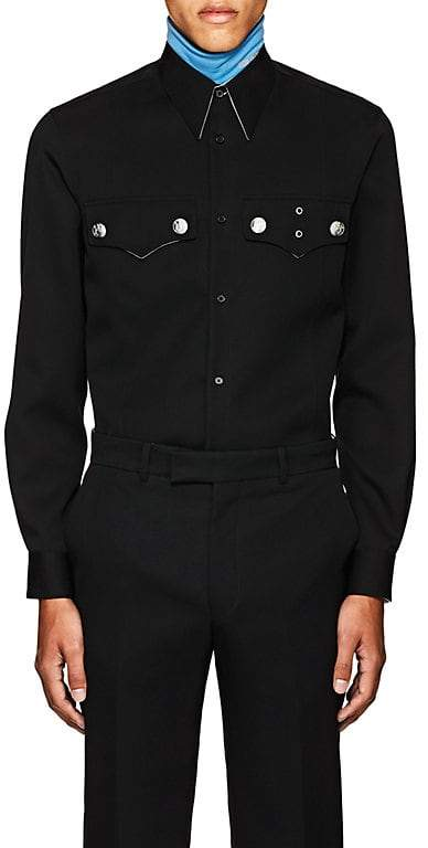 Calvin Klein Men's Embellished Wool Gabardine Shirt