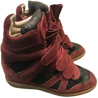 Isabel Marant Burgundy Suede Trainers