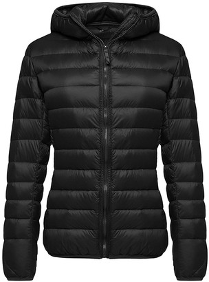 SwissWell Hooded Down Jacket Outwear Puffer Woman Down Coats Black XL