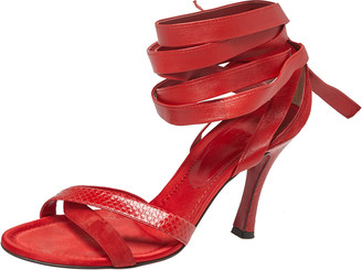 Dolce & Gabbana Red Python Embossed Leather And Suede Ankle Wrap Sandals Size 40