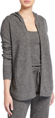 Neiman Marcus Cashmere Zip-Front Curved-Hem Hoodie