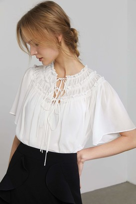 J.ING Alicia White Spanish Blouse