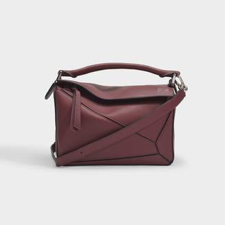 Loewe Puzzle Small Bag In Wine Calfskin