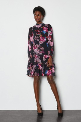 Karen Millen Tiered Long Sleeve Printed Floral Dress