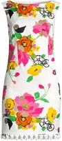 Trina Turk Floral Pom-Pom Fringe Shift Dress