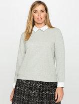 ELOQUII Plus Size Collared Scuba Sweatshirt