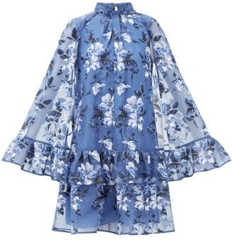Erdem Concetta Floral-embroidered Organza Mini Dress - Womens - Blue