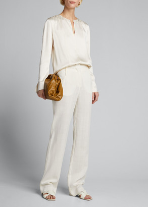 Jason Wu Collection Crepe Back Satin Long-Sleeve Top