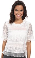 Rebecca Taylor Women's Short Sleeve Tile Lace Ruffle Top Sea Salt Blouse