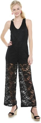 Almost Famous Juniors' Double V All Over Lined Lace Jumpsuit