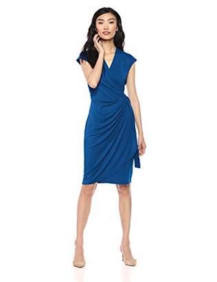 Lark & Ro Classic Cap Sleeve Wrap Dress Business Casual,S